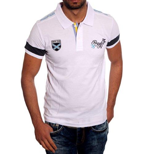 Poloshirt T Shirt für Herren Männer Jungs Jungen V Ausschnit Avroni A6618RN, Größe:S, Farbe:Weiß
