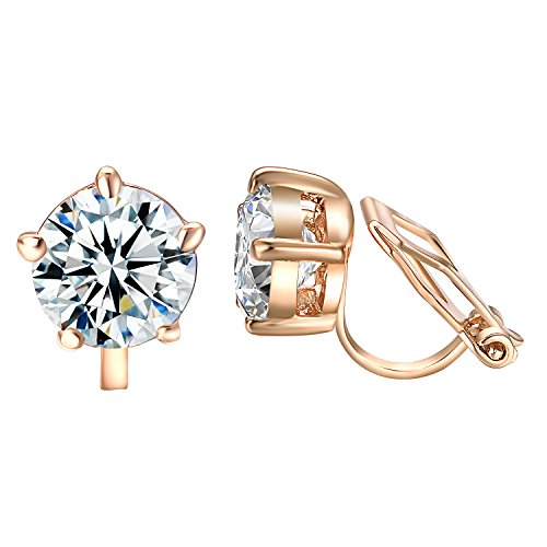 rings for Kids Non Pierced Colorful Crystal Half Ball Small Cubic Zirconia Earring Round (Small cz Clip Earrings) ()