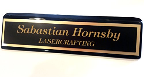 Executive Office Desk Name Plate 2x10 Black piano finish - Laser Engraved, - Nameplate Piano Desk