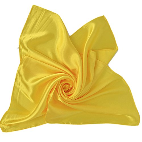 Square Scarf Head Neck Multiuse Solid Colors Available (Yellow) ()