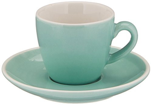 Abbott Collection Avenue Diner Look Porcelain Espresso Cup w/ Saucer, Mint