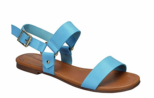 Breckelles Indio-25 Womens Double Strap Flat Sandals Blue kycGaZ
