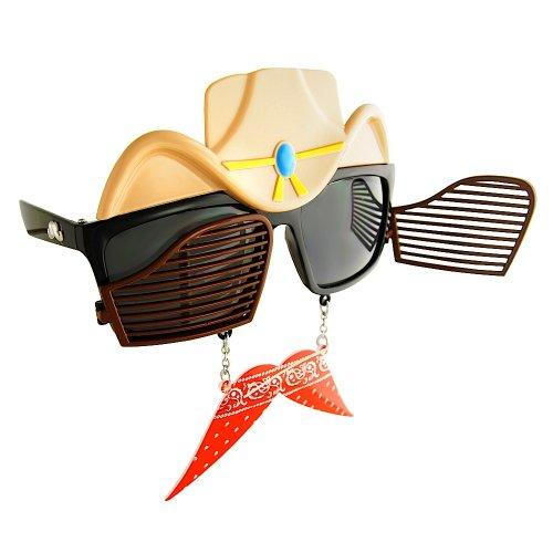 Costume Sunglasses Western Cowboy Sun-Staches Party Favors UV400