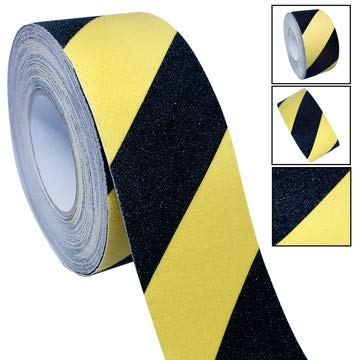 Grade Non Skid Safety Tape - Typhon East High Traction Grip Tape, 3 Inch x 60 Foot, Anti-Slip 80-Grit Tread Tape with Industrial-Grade Adhesive, Non-Skid Tape for Stairs, Steps, Ladders, Indoor, Outdoor (Yellow and Black)