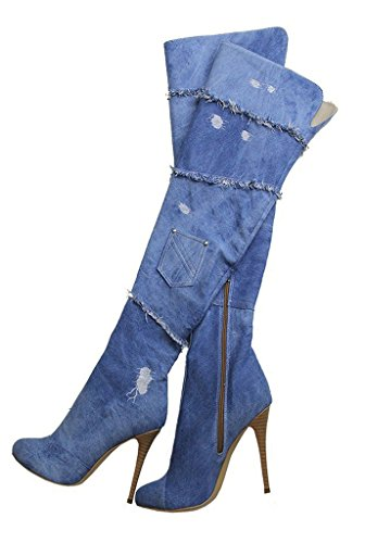 Heel Pointed Toe Over Amy Size Peep Q Women's High 4 Toe The Thigh Boots 15 US Denim Boots Knee High qv7U1qS
