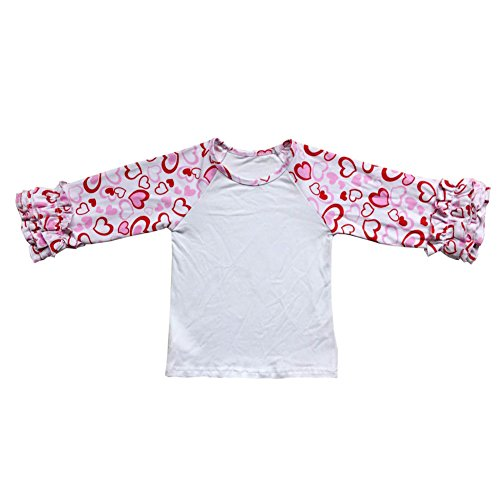 Kid Baby Girls Egg Easter Valentine's Day Icing Ruffles Shirt Boutique Clothing Cotton T-Shirt Raglan Tee Fall Top White+Pink Love Heart 6-7 Years -