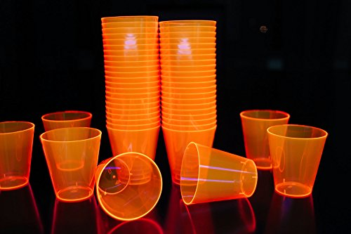 2oz 50 Count Neon Blacklight Reactive Plastic Shot Glasses + 5 Blacklight Balloons (Neon -