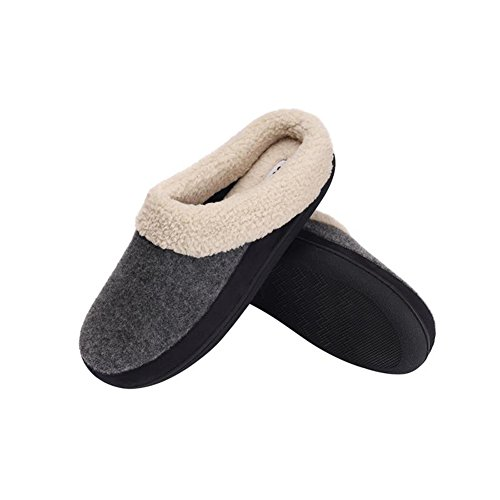 Grey Indoor Memory Fleece Comfotable Slippers Foam Plush Lining Slippers House Men's wq8vRR