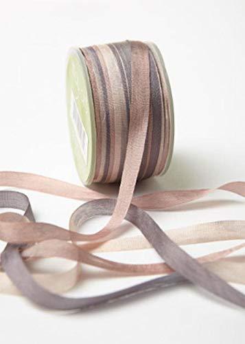 Grey & Mauve Soft 100% Silk Gypsy Ribbon - 1/4