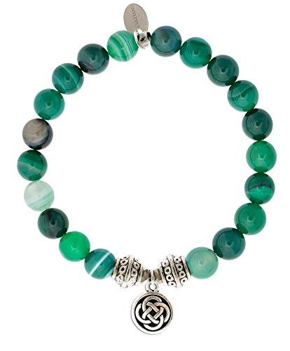 EvaDane Natural Green Stripe Jade Gemstone Tibetan Bead Celtic Knot Charm Stretch Bracelet - Size 7 Inch ( ()