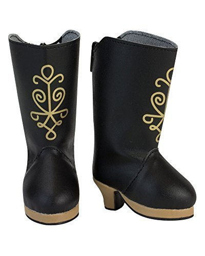(18 Inch Doll Black Heel Boots with Gold Metallic Print Screen Design, Black Boots with Heel)