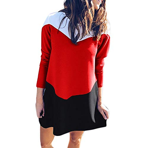 - clearance sale!!ZEFOTIM Fashion Women O-Neck Long Sleeve Color Block Patchwork Mini Dress(Large,Red)