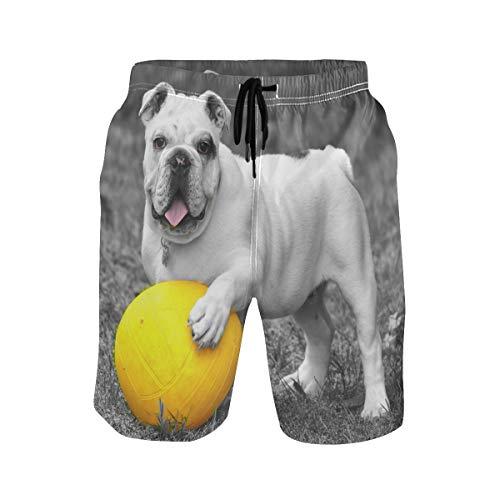 Animal Dog Bulldog with Ball Funny Mens Swim Trunks Beach Short Watersports with Pockets Swimwear
