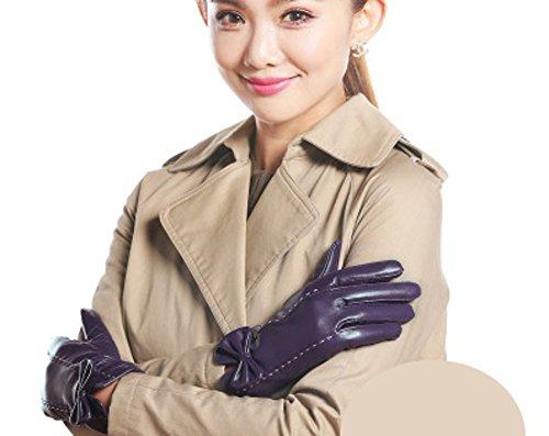 知覚できる喉が渇いたあらゆる種類のYouchan(ヨウチャン) 手袋 レディース グローブ 革 レザー ステッチ 上質 リボン ギフト プレゼント スマホ対応 小物 (S, パープル)