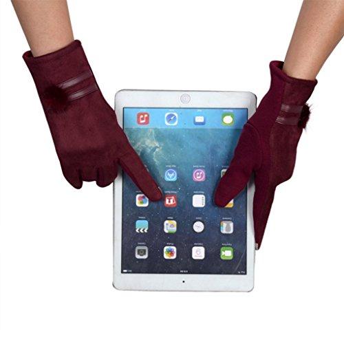 Guantes calientes para Mujeres,Ouneed ® Moda invierno cálido suave muñeca guantes mitones Rojo