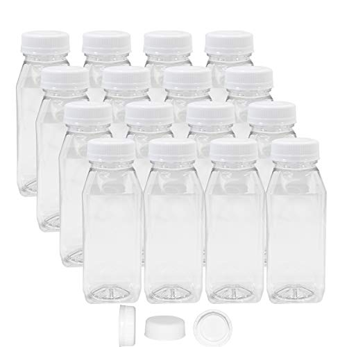 Pack of 48 Empty PET Plastic Juice Bottles - 8 oz Reusable Clear Disposable Milk Bulk Containers with White Tamper Evident Caps by Upper Midland Products (Image #9)