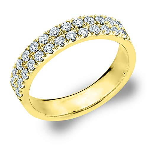 .50 CT Double Row Lab Grown Diamond Ring in 14K Yellow Gold, Sparkling in E-F Color and VS Clarity- Finger Size 6