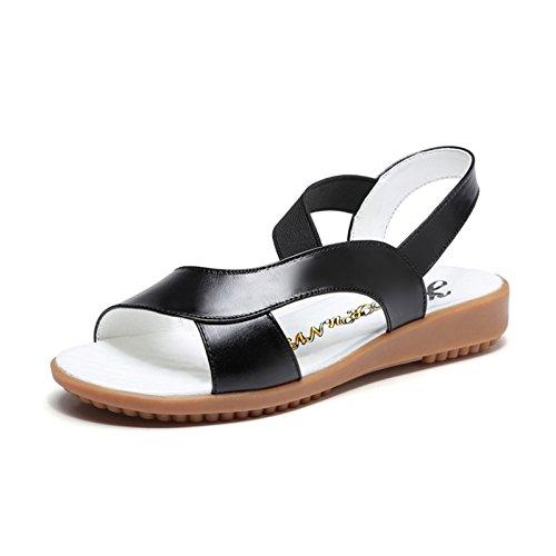 Moda Mujer verano sandalias confortables tacones altos,37 azul Black