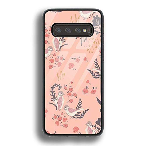 (Tempered Glass Red Feathered Bird Flower Phone Cases Shockproof Anti-Scratch Case for Samsung Galaxy S10)