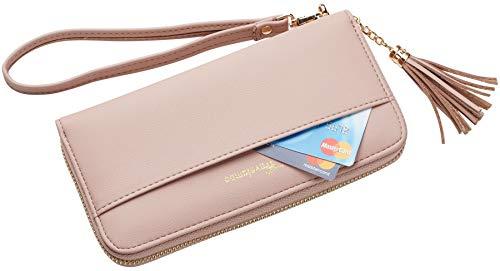 Travelambo Womens Wallet Tassel Bifold Ladies Cluth Wristlet Wrist strap Long Purse (Access Pink Champagne) by Travelambo (Image #2)