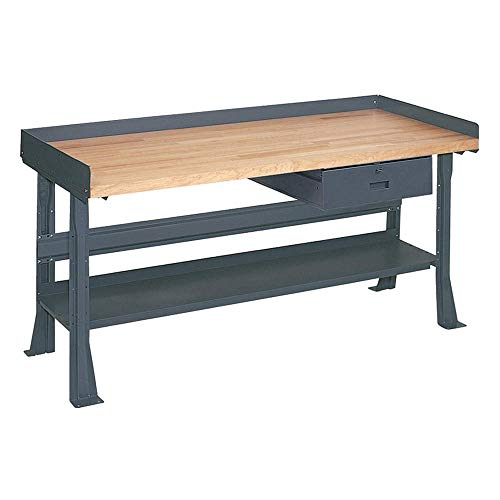 Edsal M5351 Intermediate Flared Leg Steel Work Bench with Butcher Block Maple Top, 1 Drawer, 1 Lower Shelf, 34