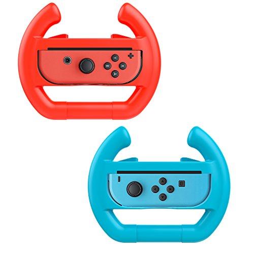 Deluxe Racing - MoKo Nintendo Switch Wheel, Mario Kart Steering Wheels Controller Handle for Nintendo Switch Joy-con 2 Pack (Blue & Red)