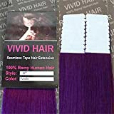 Cheap 20 Pcs X 22″ inches Remy Seamless Tape Skin weft Human Hair Extensions Color Purple