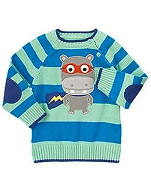 Baby Boy Striped Hippo Superhero Sweater 18-24 Months