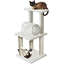 """Marketworldcup 33"""" White Pet Cat Tree Play Tower Bed Furniture Scratch Post Tunnel Toy Mouse"""