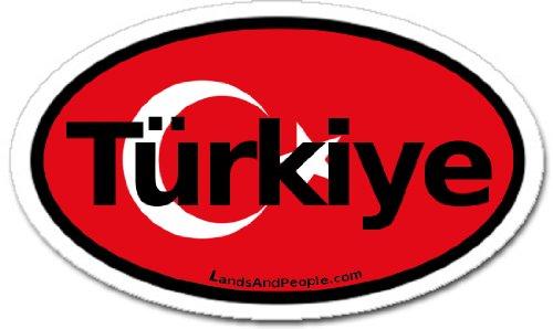 (Türkiye Turkey in Turkish TR Flag Car Bumper Sticker Decal Oval)