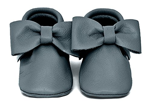Baby Moccasins, The Coral Pear Bow Moccasin, Genuine Leather Shoes for Babies & Toddlers, Grey, Size 5M (Babies & Toddlers)