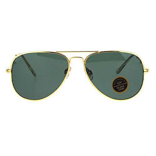Mens Tempered Glass Lens Metal Wire Rim Classic Police Aviator Sunglasses Gold - Cop Sun Glasses