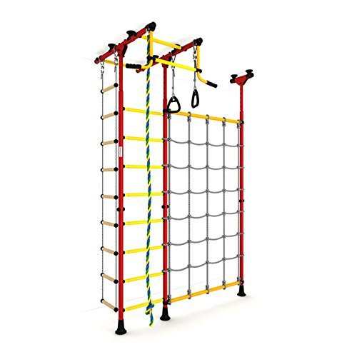 Indoor Kids Playground Play Set with Cargo Net / Red Training Gym Sport Accessories Equipment: Rope ladder, Rope and Gymnastic Rings / Suit for Apartment, School and Playroom / Carousel R3