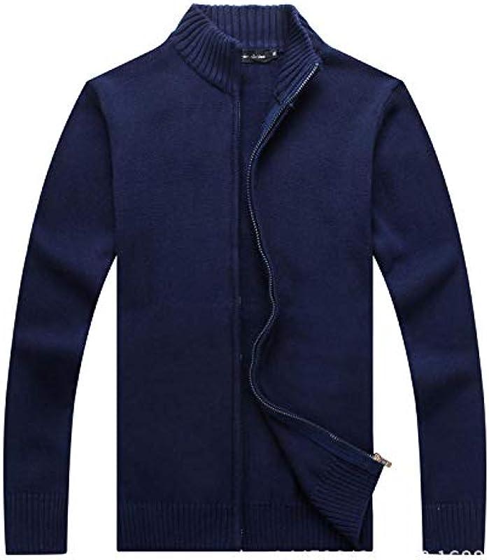 Męskie Cardigan Sweater Zipper Stand Kragen Strickpullover Langarm Winter einfarbig Jacke Mantel: Odzież