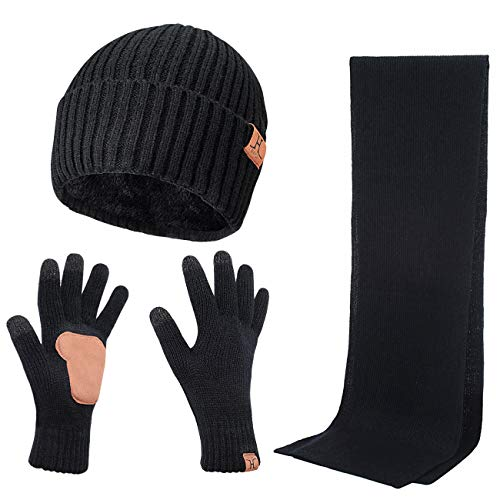 Winter 3Pcs in 1 Warm Thick Knit Beanie Hat Long Scarf and Touchscreen Driving Gloves Set for Men by Maylisacc