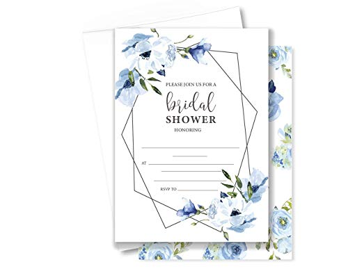 - 12ct Fill In Bridal Shower Invitations, Blue Floral Theme, Romantic Invites (BS-308-001-FB-WH)