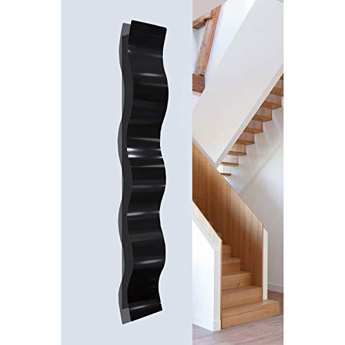 Statements2000 Black Satin Finish 3D Abstract Metal Wall Art Sculpture Wave - Modern Home Décor by Jon Allen - 46.5