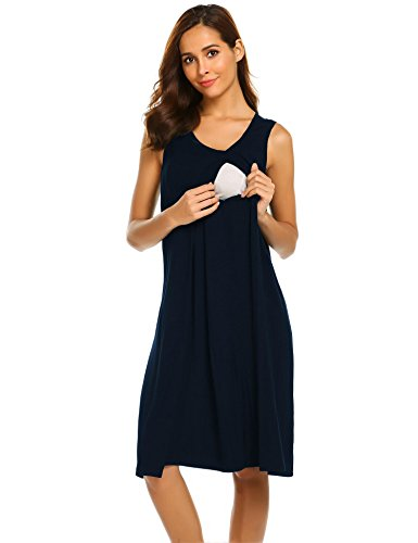 Skylin Nursing Pajamas Sleepwear Women Soft Breastfeeding Pyjamas Sleepwear Nighty (Navy, Medium) by Skylin