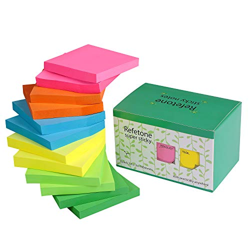 Sticky Notes 3x3 inches,12 Pads/Pack Self-Stick Notes with Strong Viscosity & Easy Post 100 Sheets/Pad,1200Sheets, 6 Assorted Bright Colors,Individual Package (Improved Quality Version)