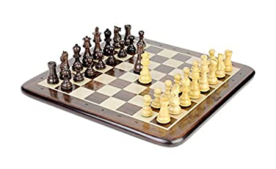 """House of Chess - Rosewood Galaxy Staunton Wooden Chess Set Pieces King size 3"""" + 15"""" Flat Rosewood Chess Board"""