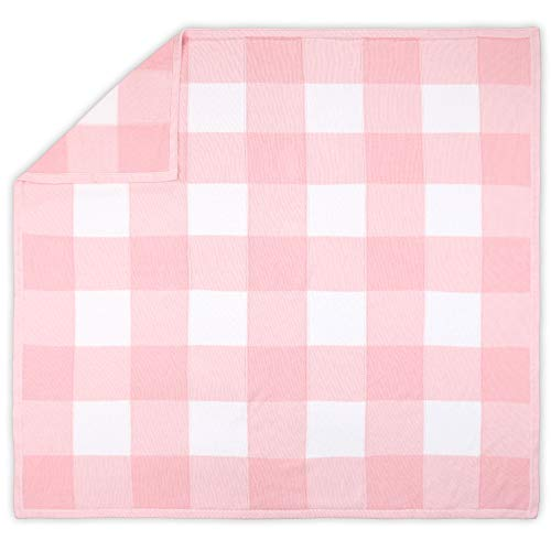 Farmhouse Large Pink and White Check Baby Blanket - Rustic Chic 100% Cotton Sweater Knit