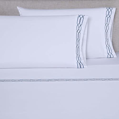 Full Sheet Set, Ivory//Ivory Chain Pattern Affluence 600 Thread Count 100/% Cotton Embroidered Sheet /& Separate Pillowcase Sets