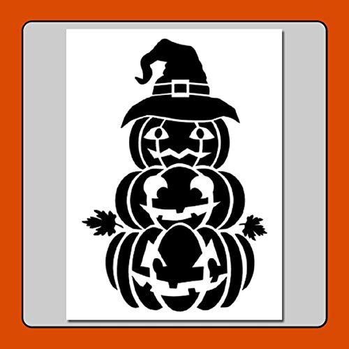 5 X 7 Happy Stacked Pumpkins Stencil Template Jack o Lanterns/Halloween/Fall/Leaves/Witch Hat -