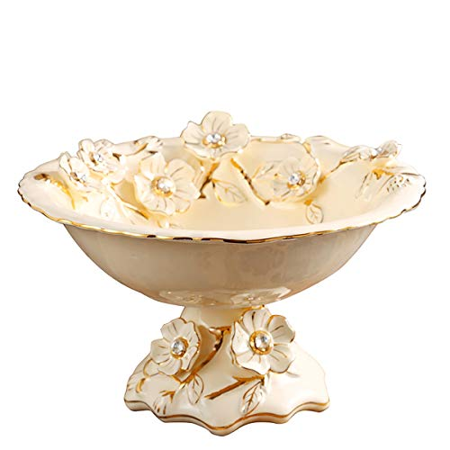 (DABENXIOING Gilded Ceramic Fruit Bowl Decorative Snack Bowl Perfect for Serving Snacks Nuts and Fruit Table Organizer Retro Style Home Decor)
