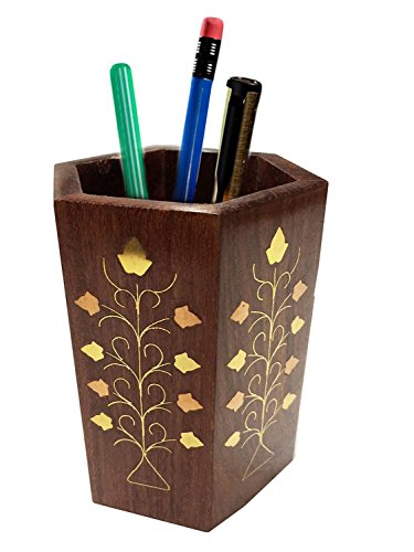 Womens Day Special Gift,Wooden Pen Stand,, Perfect for Office & Home Desk to Organize your pens, pencil,