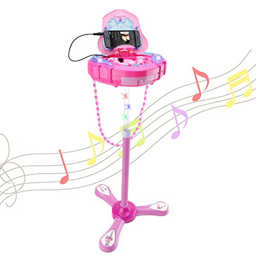 HANMUN Kids Karaoke Machine with 2 Microphones and Adjustable Stand,Music Sing Along with Flashing Stage Lights and for Fun Musical Effects,Pink by HANMUN (Image #7)