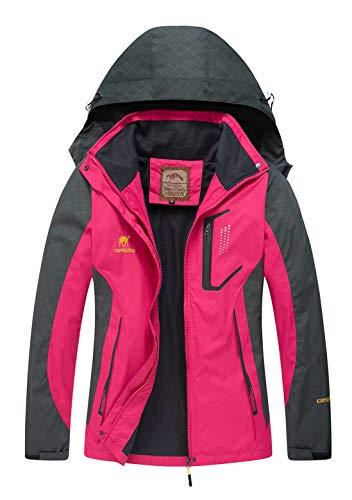 Diamond Candy Women Windproof Hooded Waterproof Rain Jacket Lightweight for Hiking Hot Pink