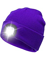AONAN USB Rechargeable LED Beanie Cap, Ultra Bright Lighting and Flashing Alarm