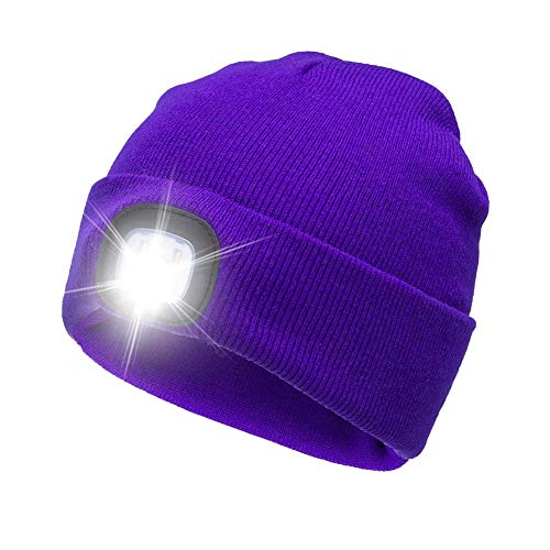 AONAN USB Rechargeable LED Beanie Cap, Lighting and Flashing Alarm Modes Ultra Bright 4 LED Hands Free Flashlight Unisex Winter Warmer Knit Cap Hat (Purple)