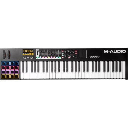 M-Audio Code 61 Black | 61-Key USB MIDI Keyboard Controller with X/Y Touch Pad (16 Drum Pads / 9 Faders / 8 Encoders) (Midi Controller Keyboard 61)